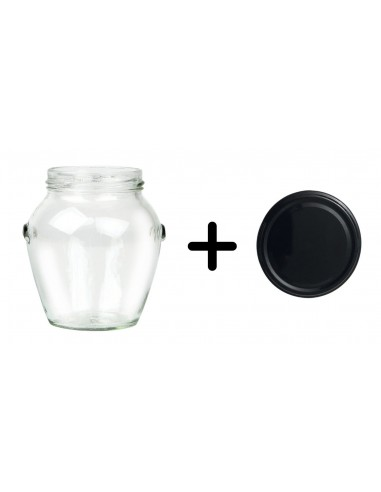 212 mL round jars with black lids TO 63 mm - Pack of 20 - 1