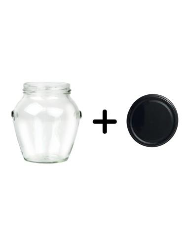 212 ml runde Gläser mit schwarzem Deckel TO 63 mm - Packung mit 20 - 1